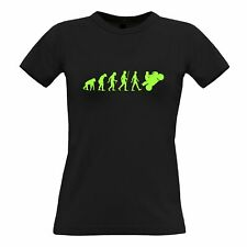 Motorcycle Womens TShirt Neon Green Evolution of a Biker Rider High Speed Racer