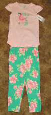 Girls Carter's NWT short sleeved pink bodysuit and floral pants size 24 months