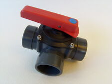 PVC 3-Wege-Zylinderhahn, 50/63 mm, Kugelhahn, Solar- oder Poolheizung,Wärmepumpe