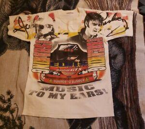 Vintage 1998 Elvis Pressly John Force NHRA Drag Racing All Over Print Shirt M