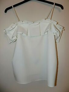 River Island Top Blouse Size 8 Soft White Strappy Holiday Worn Once