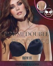 ⋆reggiseno a Balconcino Lormar Double Gloss Push Up con ferretto piu 2 Taglie⋆ 4° Nero