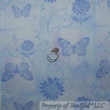 BonEful FABRIC FQ Cotton Quilt Purple Blue Pastel Butterfly Flower Leaf Sm Swirl