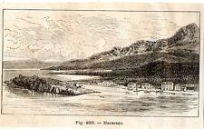 Stampa antica MAKARSKA Macarsca Croazia 1889 Old antique Print starinski ispis