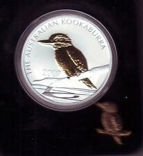 2007 1oz KOOKABURRA SILVER Coin Gold Gilded Plated with Pin Australia