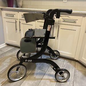 Drive Medical Tall Nitro Euro Rollator Folding Walker Adult 10266BK-T Black