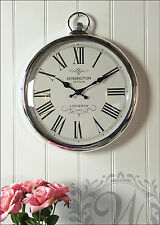 Silver Pocket Watch Wall Clock Kensington Station Round Roman Numerals Large New