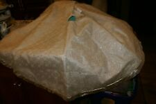 """CHRISTMAS TREE SKIRT Shimmering Gold Quilted Fancy OFF WHITE GOLD TRIM 24"""""""