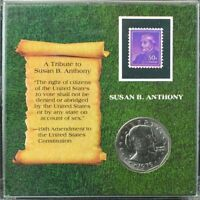 1979-D Susan B Anthony Dollar~Tribute Slab with Stamp & Stand~GEM BU~Combo Ship~