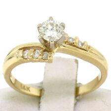 14k Oro Amarillo Macizo 0.40ctw Diamante Brillante Redondo