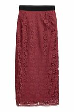 H&M NEW UK 10 LADIES BERRY LACE SKIRT