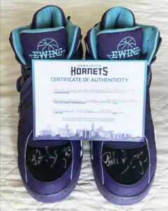 Patrick Ewing 🏀 ULTRA RARE! TWO autographed sneakers! COA Charlotte Hornets