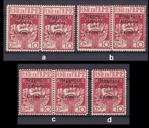 Fiume Besetzung Carnaro 4, 1920 Paar, Einzelmarke ** bitte auswaehlen! #e942