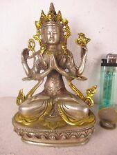 alter CHENREZIG Buddha original alte Tara aus Tibet vor 1970 Tibetsilber 14,3cm