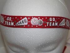 GLITTERY RED CHEER Non slip Headband adjustable no slip Sweaty Sports Hair Bands