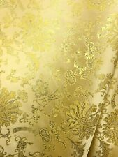 Gold Metallic Floral Brocade Fabric (56 in.) Sold By The Yard