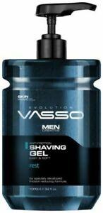 VASSO Anti-Friction Shaving Gel Evolution - 1Litre - Easy Pump Action - BOX DEAL