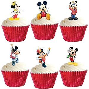 24 Mickey Mouse Stand Up Cup Cake Toppers Edible Birthday Party Decorations