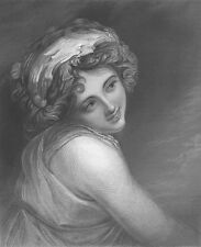Pretty YOUNG WOMAN GIRL LADY HAMILTON HORATIO NELSON ~ 1854 Art Print Engraving