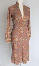 Libelula Silk Bell Sleeve Bias Cut Tan Calf Length Dress Floral Print Size Uk 8