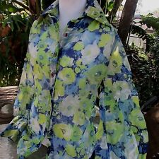 Vintage 70s Mod Hippie Blue Green Floral Long Sleeve Button Up Top Women's S M