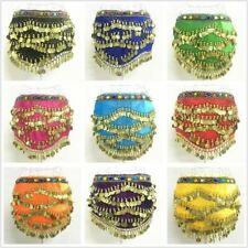 Sequins Bead Belly Dance Costumes Velvet & Gold Coins Dancer Hip Scarf Wrap Belt
