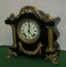 "FANCY ANSONIA ""TOULON"" BLACK ENAMELED 8 DAY CAST IRON MANTEL CHIME CLOCK WORKING"