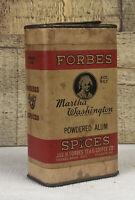 Vintage Forbes Martha Washington Spice Tin Powdered Alum 1920's Farmhouse Decor