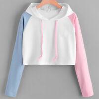 Women's Long Sleeve Hoodie Sweatshirt Hooded Jumper Sweater Crop Pullover Tops