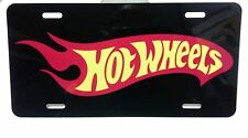 "Hot Wheels Logo Aluminum Car Truck Tag License Plate Black Red Yellow 12"" x 6"""