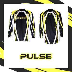 PULSE MOTOCROSS MX ENDURO BMX MOUNTAIN BIKE JERSEY - TSUNAMI YELLOW & BLACK