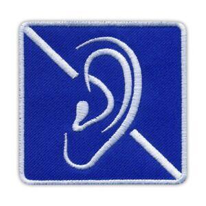 DEAF Sign - symbol for deafness Embroidered PATCH/BADGE