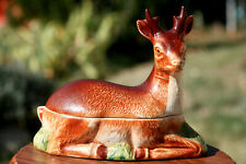 Michel Caugant Terrine cerf biche céramique 20cm vintage Deer Shaped Handmade