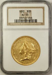 1850 $20 Liberty Head Double Eagle Gold Coin NGC AU-53 NP