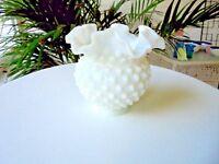 Vintage Fenton Hobnail Ruffle Small Milk White Bud Vase