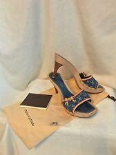 Louis Vuitton Monogram Blue Denim Sandals Slides Shoes, 39, 8.5, 9