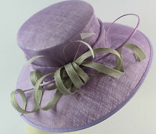 ladies formal sinamay silver/lilac hat wedding races