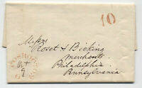 1847 Coshocton Ohio red CDS stampless 10 rate handstamp [5251.153]