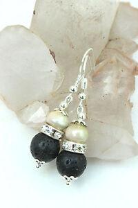 Natural BLACK LAVA Stone & Pearl Bead Rhinestone Dangle DROP EARRINGS 925 Silver