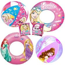 Barbie & Disney Princess Armbands Swimming Ring Beach Ball Float Pool Girl Kids