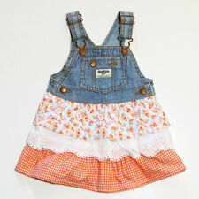 OshKosh 12M Orange Gingham & Lace Ruffled Denim Jean...