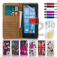 32nd design PU leather flip wallet for Nokia Lumia 820 + FREE screen protector