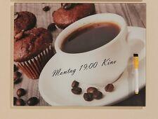 Memotafel  lackiertes Glas Kaffee Küche Wandbild  mit Stift  Neu