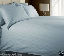 100 Cotton King 400 Thread Count Jacquard Duvet Cover Set Window Check Ice Blue