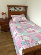 Girls Single/king Single Patchwork Quilt Coverlet Pink French Bonjour Shabby New