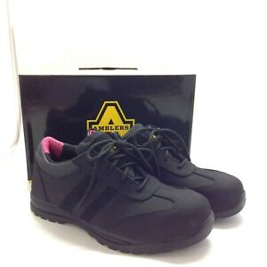 New Amblers Sophie Safety Shoes Trainers UK 8 EU 42 Black Steel Toe Work 111455