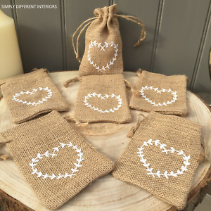 Natural Hessian Drawstring Gift Sacks,Party Bags,White Heart, Favours.5 or 10.