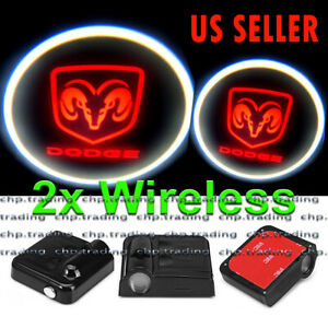 2x Wireless Ghost Shadow Projector Logo LED Light Courtesy Door Step for Dodge