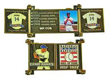 1977 Ernie Banks Cooperstown MLB HOF Bronze Door Pin in Display Box - Cubs
