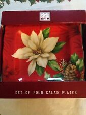 222 Fifth Poinsettia Holly 4 New Salad Plates Christmas